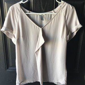 H&M Sheer Taupe V-Neck Blouse